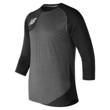 New Balance Baseball Asym Base Layer Right, Team Black with Heather Grey