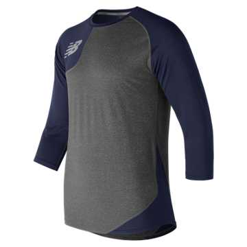 New Balance Baseball Asym Base Layer Right, Team Navy with Heather Grey