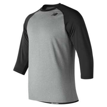 New Balance 3/4 Baseball Raglan Top, Team Black