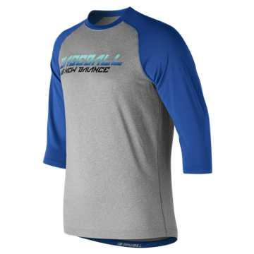 New Balance Baseball Splatter Raglan Top, Royal Blue with Grey