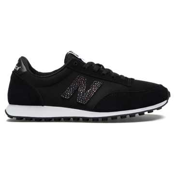New Balance 410 70s Running Suede, Black with White