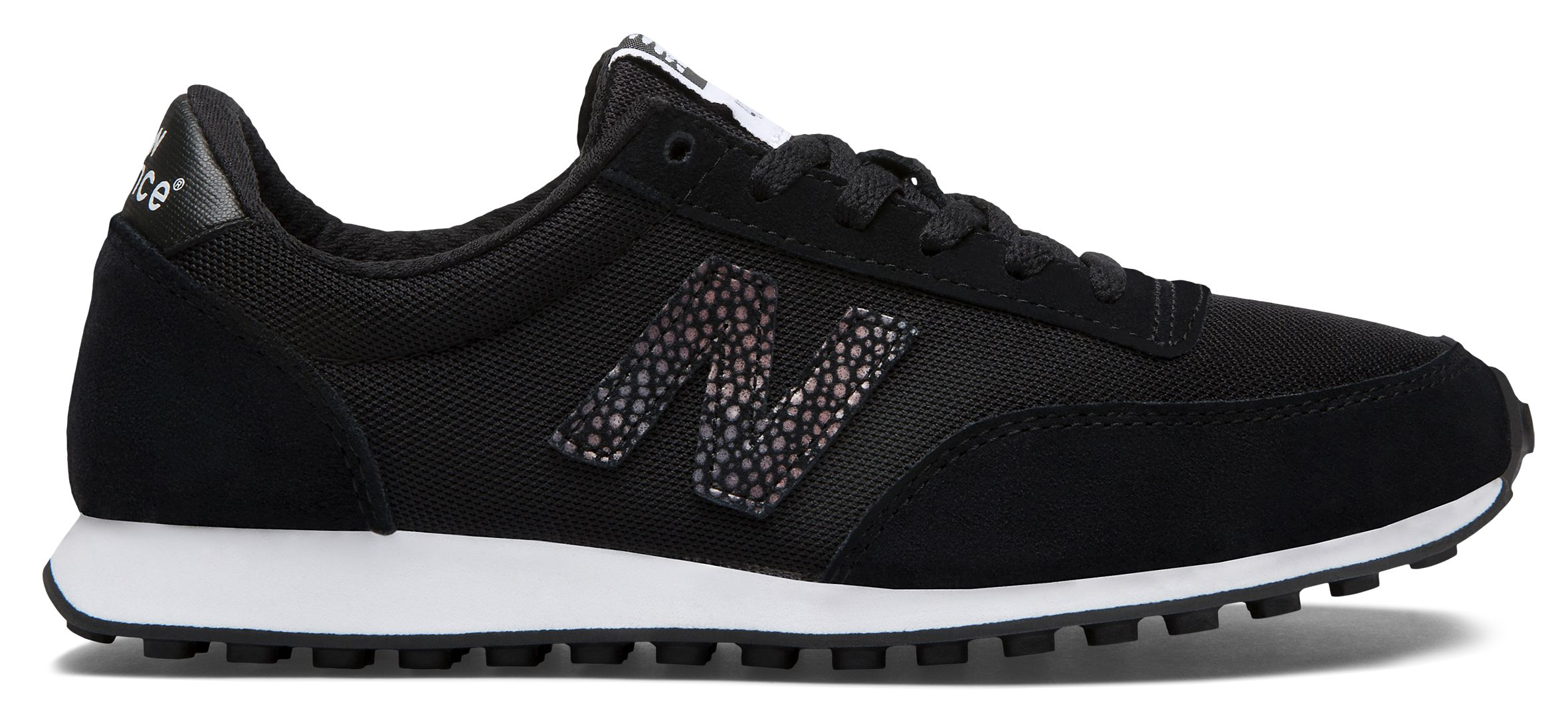 NB 410 70s Running Suede, Black with White