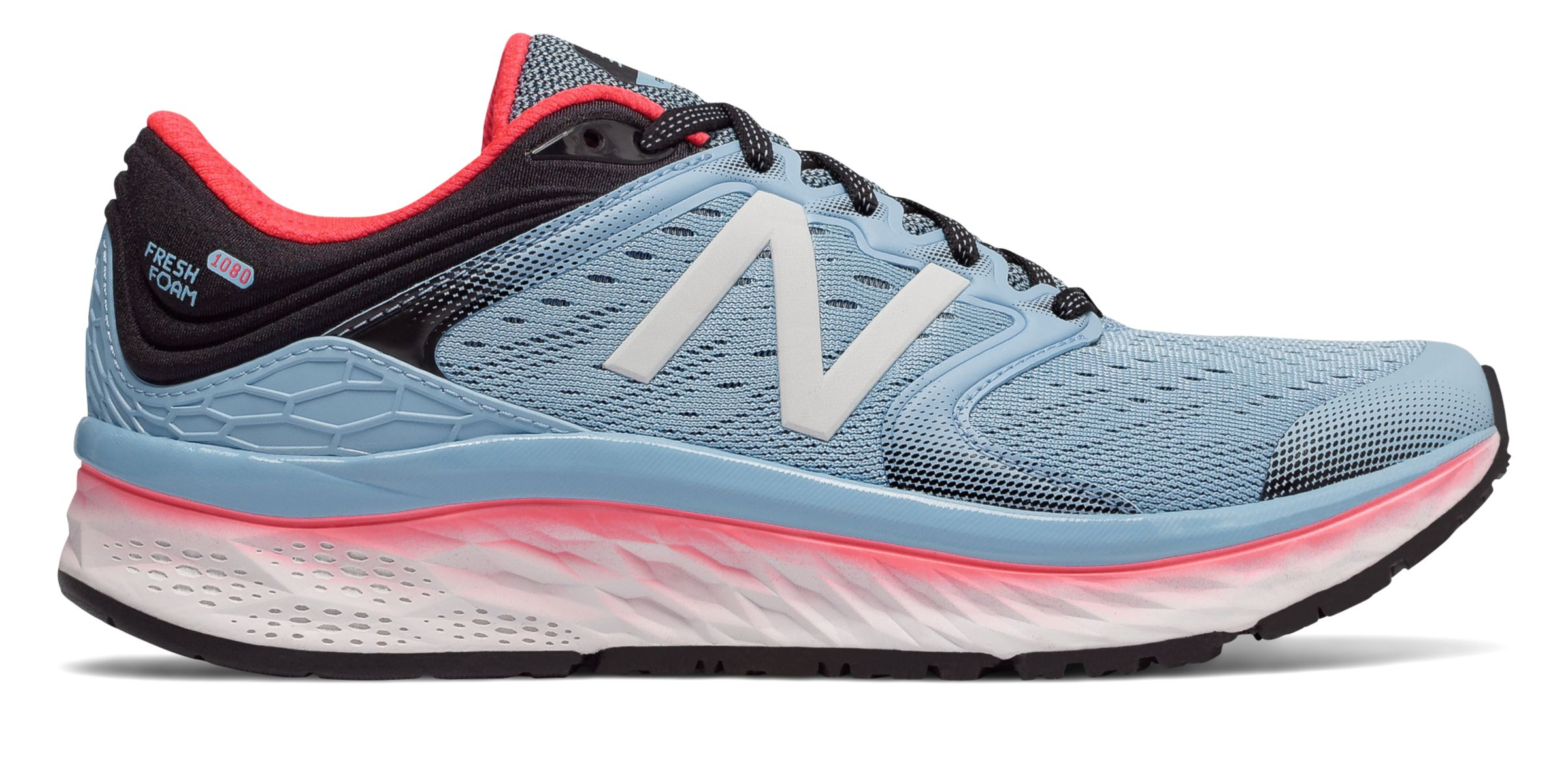 New Balance Fresh Foam 1080v8, Clear Sky with Vivid Coral & Black