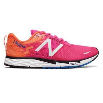 New Balance 1500女子竞速跑鞋 轻量速度, 玫红色/桔色