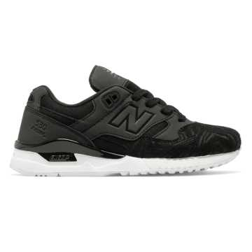 New Balance 530 90s Running, Black with White