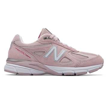 New Balance Womens 990v4 Made in US Pink Ribbon, Faded Rose with Komen Pink