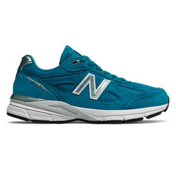 New Balance Womens 990v4 Made in US, Lake Blue with Silver