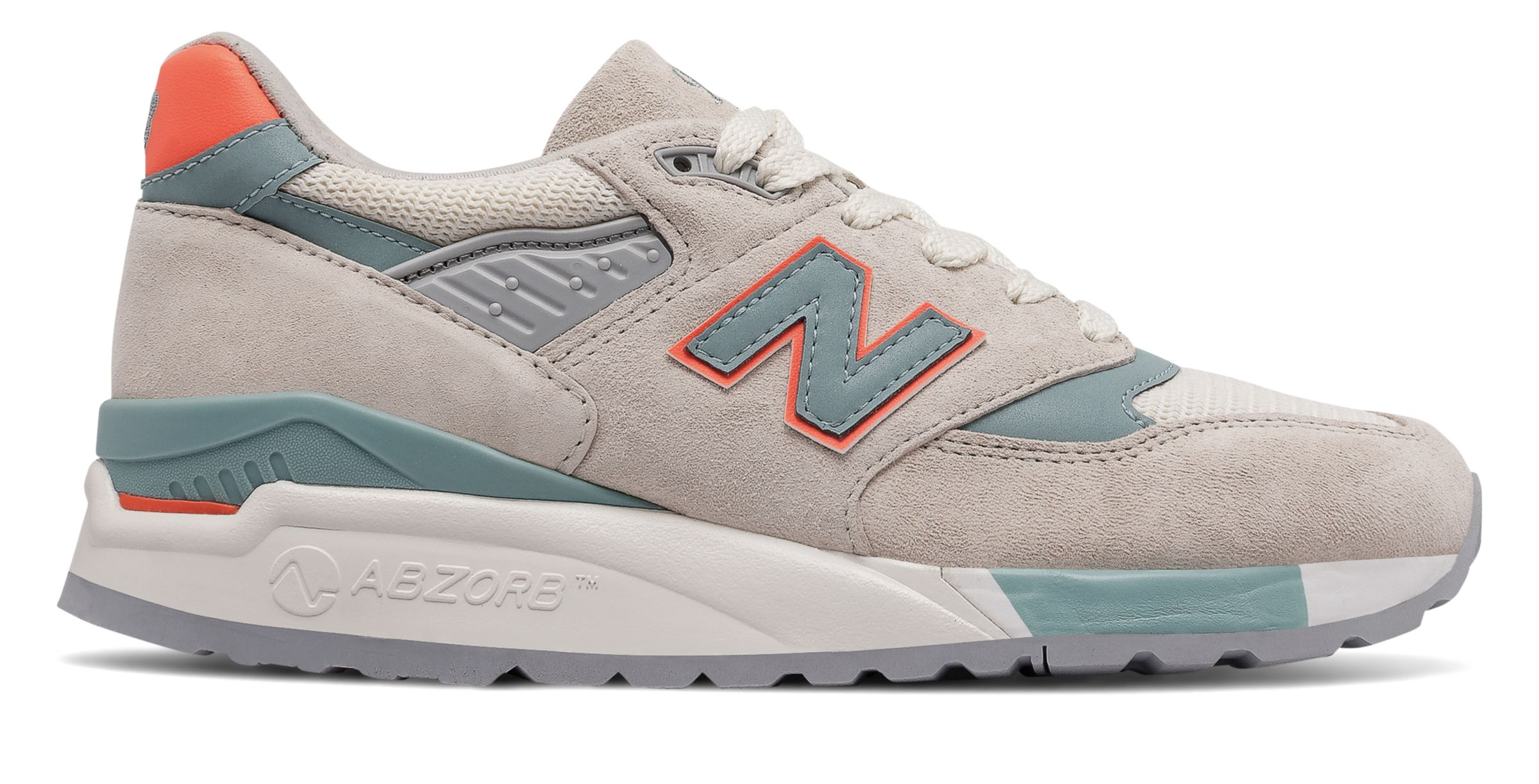 NB 998 New Balance, Sea Salt with Storm Blue