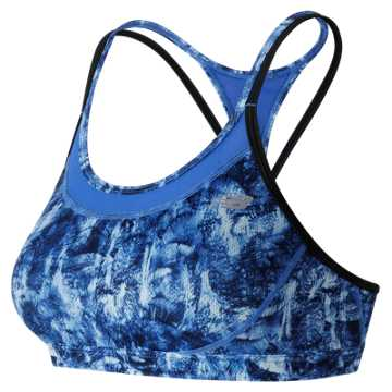 New Balance Majestic Feather Camo Tonic Crop Bra, Droplet with Bluefin & Black