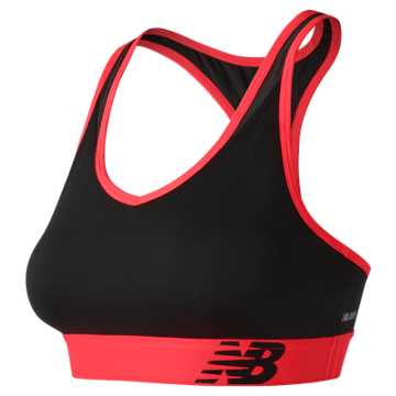 New Balance NB Pace Bra, Black with Vivid Coral