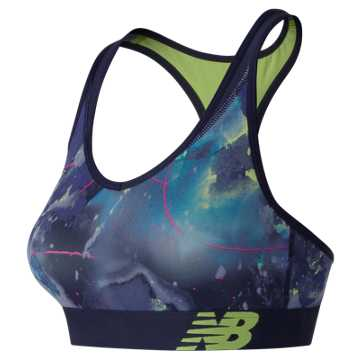 New Balance NB Pace Printed Bra, Solar Yellow with Blue Iris