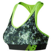 New Balance White Tie Dye NB Pace Bra, White with Black & Lime Glo