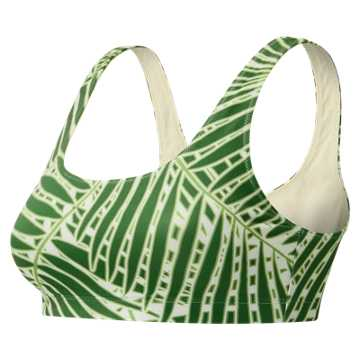 New Balance J.Crew Premium Performance Printed Scoop Bra, Palm Print