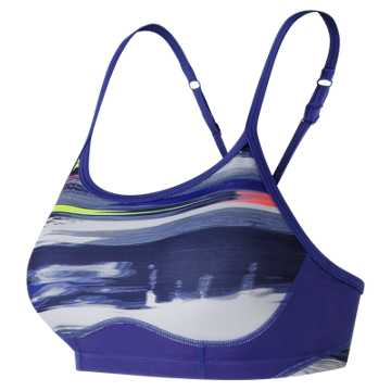 New Balance NB Hero Bra, Blue Iris with White & Solar Yellow