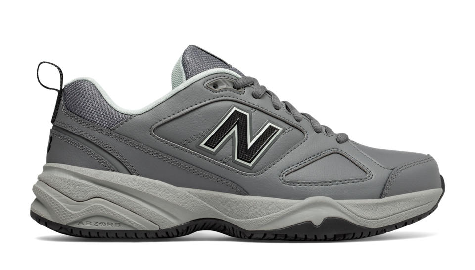 Women\u0027s Work Shoes. Expand. New Balance Steel Toe 627v2 Leather, Grey with  Pink
