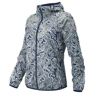 New Balance J.Crew Windcheater Jacket, Navy with Silver Paisley