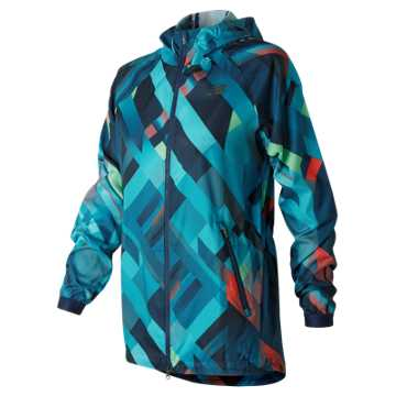 New Balance Deep Ozone Plaid Hybrid Jacket, Deep Ozone Blue with Ozone Blue Glo & Sunrise