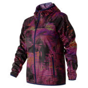 New Balance Windcheater Printed Jacket, Navy with Striped Velocity