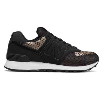 New Balance 574 Tech Raffia, Black with Incense