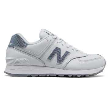 New Balance 574 Leather, White with Silver