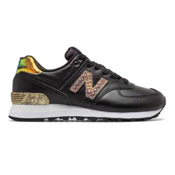 New Balance 574 Glitter Punk, Black with Metallic Gold