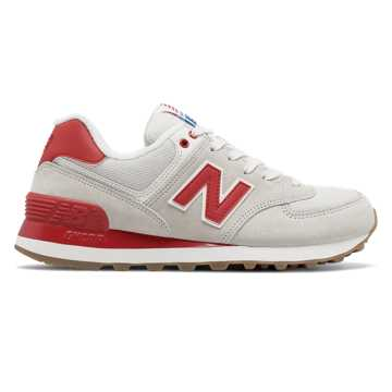 New Balance 574 Retro Sport, Sea Salt with Red