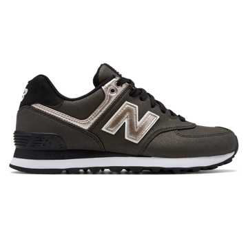 New Balance 574 Seasonal Shimmer, Black with Champagne Metallic