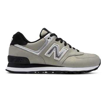 New Balance 574 Seasonal Shimmer, Metallic Silver with Black