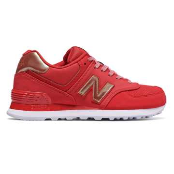 New Balance 574 Varsity Sport, Team Red with Metallic Gold
