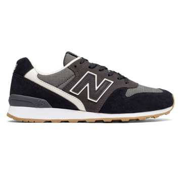 New Balance 696 Glen Check Plaid, Black with Grey