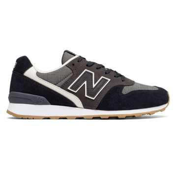 New Balance 696 Glen Check Plaid, Black with Grey