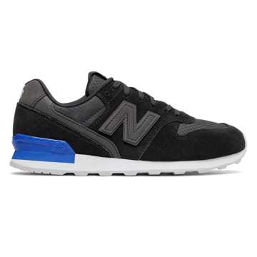 New Balance 696 New Balance, Black with Vivid Cobalt Blue