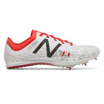 New Balance MD800v5 Spike, White with Flame & Black