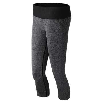 New Balance M4M Seamless Capri, Black Heather
