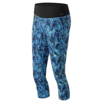 New Balance Majestic Feather Camo Premium Performance Capri, Grove with Droplet & Majestic Blue