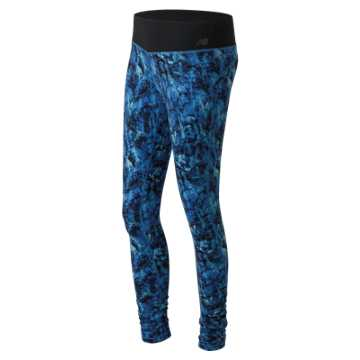 New Balance Majestic Feather Camo Premium Performance Tight, Grove with Droplet & Majestic Blue
