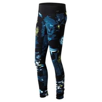 New Balance Urban Floral Premium Performance Tight, Galaxy with Firefly & Castaway