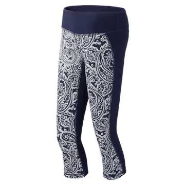 New Balance J.Crew Printed Capri, Navy with Silver Paisley