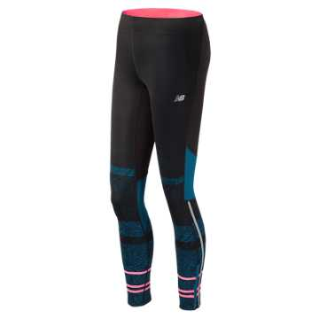 New Balance Printed Impact Premium Tight, Castaway Multi with Guava & Black