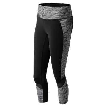 New Balance Premium Performance Printed Fashion Crop, Black with White