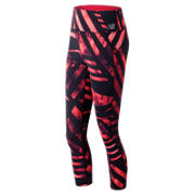 New Balance High Rise Transform Printed Crop, Vivid Coral with Black