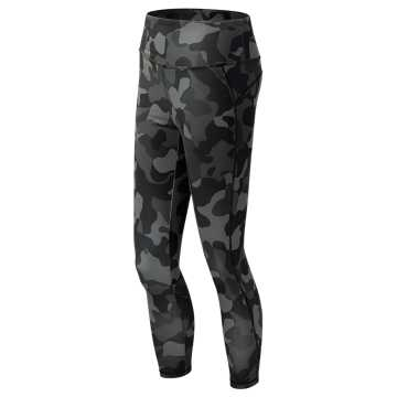 New Balance High Rise Transform Printed Crop, Black Print with Grey