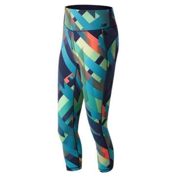New Balance Deep Ozone Plaid Performance 3/4 Crop, Deep Ozone Blue with Ozone Blue Glow & Sunrise