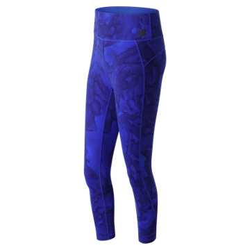 New Balance High Rise Transform Printed Crop, Vivid Cobalt Blue