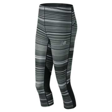 New Balance Impact Printed Capri, Black with Grey