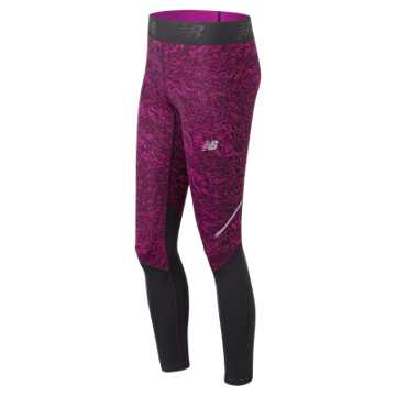 New Balance Accelerate Printed Tight, Poisonberry Crinkle Texture