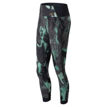 New Balance Printed Evolve Tight, Tidepool with Black