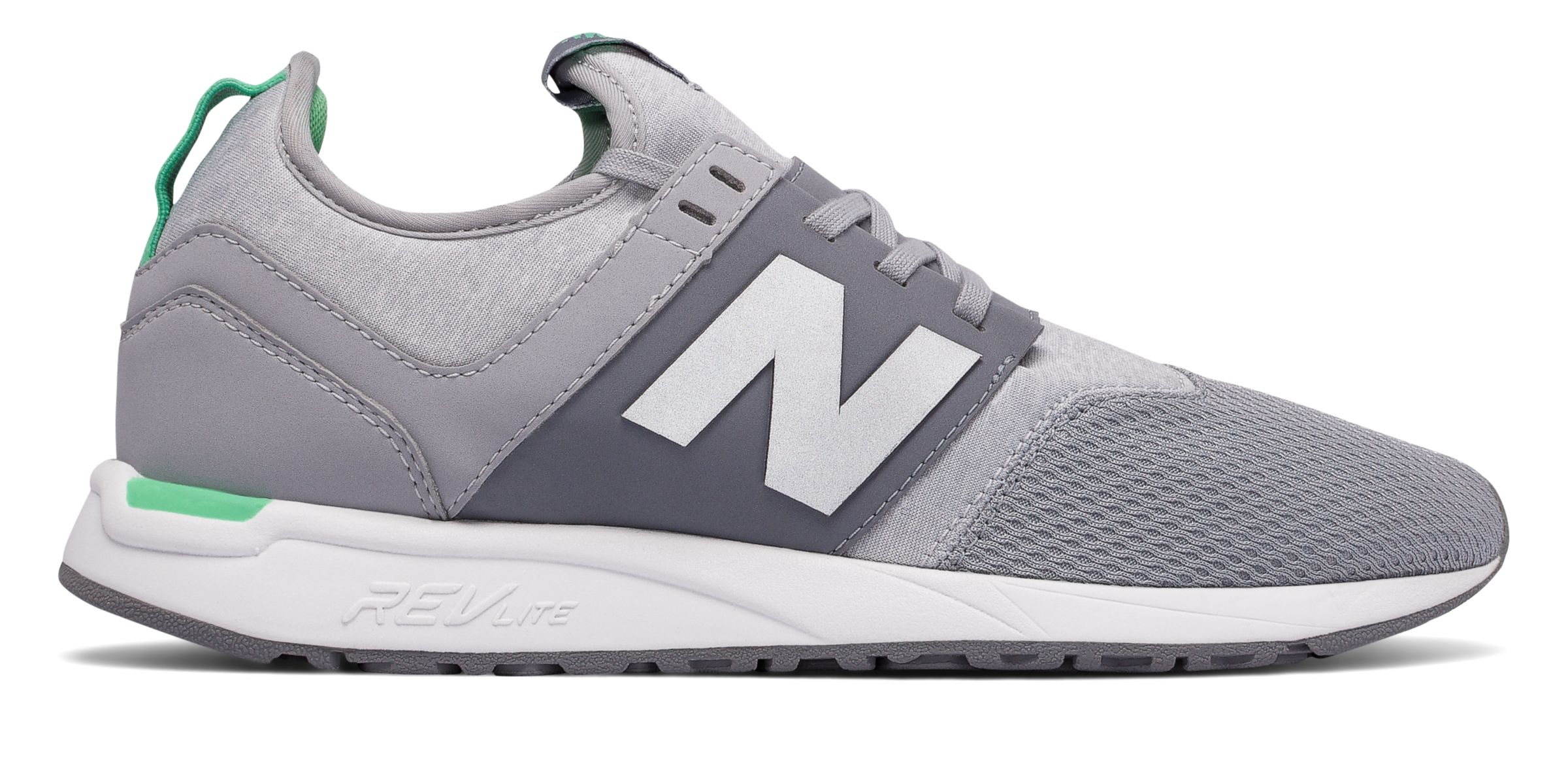 NB 247 Classic, Silver Mink with Vivid Jade