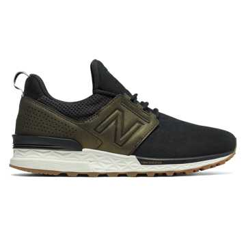 New Balance Nubuck 574 Sport, Black with Metallic Gold