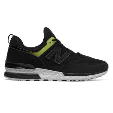 New Balance Suede 574 Sport, Black with Solar Yellow